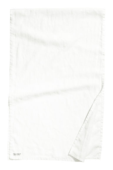 Washed linen table runner - White -  | H&M CN
