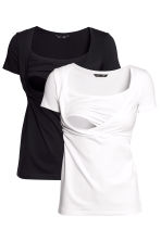 MAMA 2-pack nursing tops - White/Black - Ladies | H&M CN 2