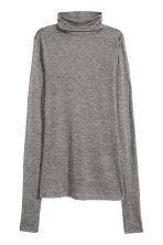 Lyocell polo-neck top - Grey marl - Ladies | H&M GB 2