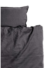 Washed linen duvet cover set - Anthracite grey - Home All | H&M CN 3