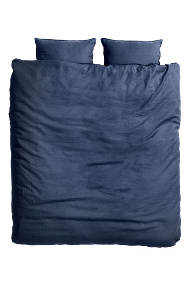 Washed linen duvet cover set - Dark blue - Home All | H&M 1