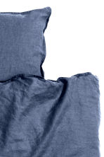 Washed linen duvet cover set - Dark blue - Home All | H&M 2