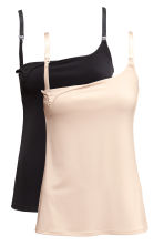 MAMA 2-pack nursing tops - Light beige/Black - Ladies | H&M 2