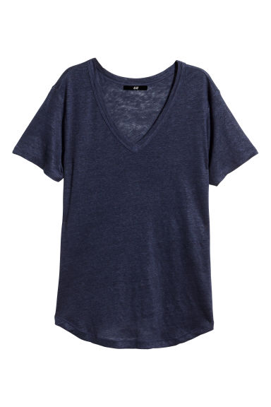 T-shirt in lino - Blu scuro - DONNA | H&M IT 1