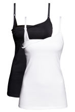MAMA 2件入哺乳上衣 - White/Black - Ladies | H&M 2