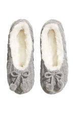Knitted slippers - Light grey - Ladies | H&M GB 1