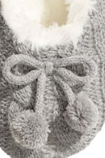 Knitted slippers - Light grey - Ladies | H&M GB 2