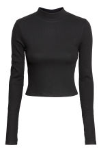 Short polo-neck top - Black - Ladies | H&M GB 3