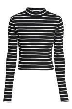 Short polo-neck top - Black/Striped - Ladies | H&M GB 2