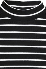 Short polo-neck top - Black/Striped - Ladies | H&M GB 3