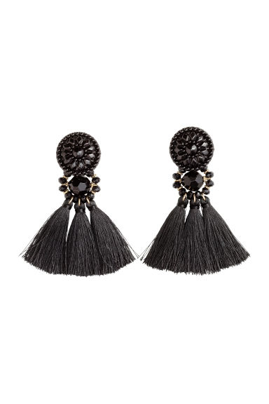 Earrings with tassels - Black - Ladies | H&M