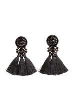 Earrings with tassels - Black - Ladies | H&M 1