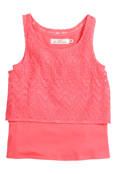 Top in a double layer - Coral - Kids | H&M CN 1