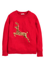 Sequined jumper - Red - Ladies | H&M GB 2
