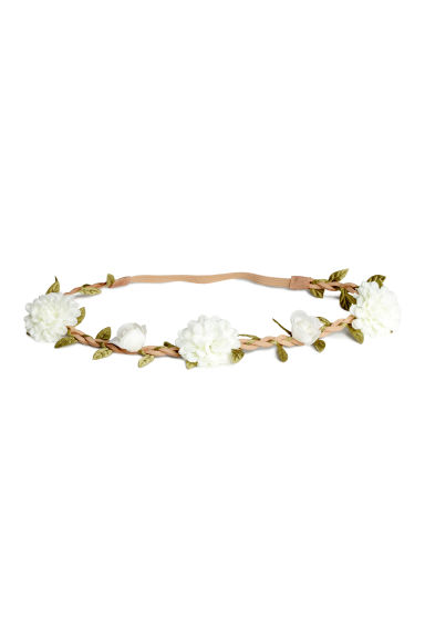 Hairband with flowers - Natural white - Ladies | H&M CN 1