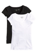 2-pack tops - Black/White -  | H&M 2