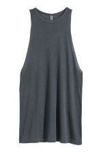 Ribbed sleeveless top - Dark grey - Ladies | H&M CN 2
