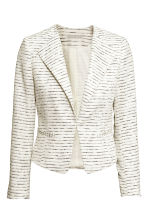 Jacket in a textured weave - White/Striped - Ladies | H&M CN 2
