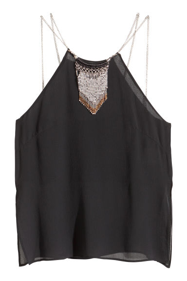 Top in chiffon con gioiello - Nero - DONNA | H&M IT 1