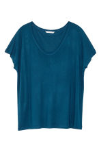Wide jersey top - Dark blue - Ladies | H&M CN 1