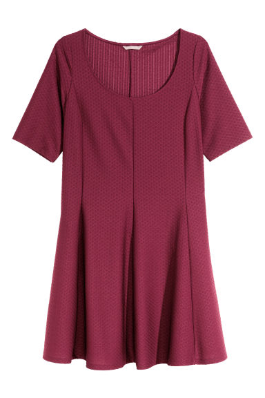 H&M+ Textured jersey dress - Burgundy - Ladies | H&M CN 1