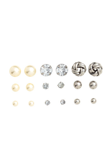 9 pairs earrings - Silver - Ladies | H&M CN 1