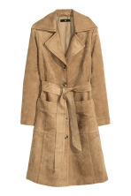 Coat in imitation suede - Beige - Ladies | H&M GB 2
