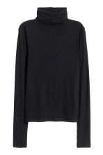 Ribbed polo-neck top - Black - Ladies | H&M CN 2