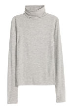 Ribbed polo-neck top - Grey marl - Ladies | H&M CN 2