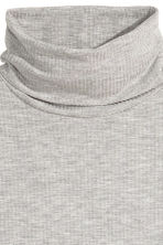 Ribbed polo-neck top - Grey marl - Ladies | H&M CN 3
