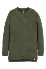 Knitted jumper - Dark green - Men | H&M GB 2