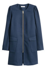 Textured coat - Dark blue - Ladies | H&M CN 2
