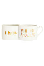 Lot de 2 mugs en porcelaine - Blanc/texte - Home All | H&M FR 2