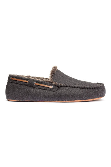 Felt slippers - Dark grey marl - Men | H&M CN 1