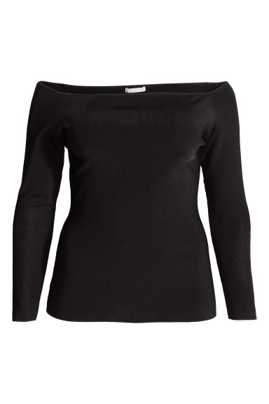 H&M+ Off-the-shoulder top - Black - Ladies | H&M GB 1