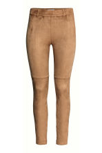 Trousers in imitation suede - Beige - Ladies | H&M CN 2