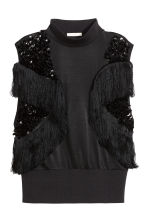 Top con paillettes e frange - Nero - DONNA | H&M IT 2