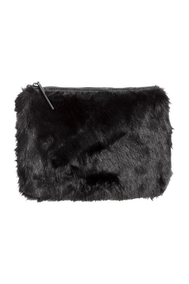 Faux Fur Clutch Bag Black H M