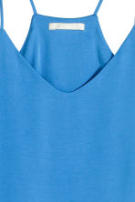 V-neck top in satin - Blue - Ladies | H&M CN 3