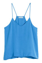 V-neck top in satin - Blue - Ladies | H&M CN 2