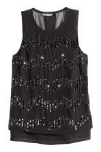 Chiffon blouse with beads - Black - Ladies | H&M CN 2