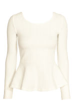 Textured peplum top - White - Ladies | H&M CN 2