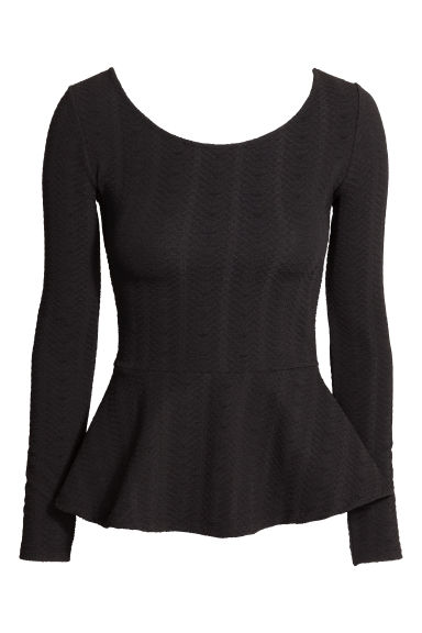 Textured peplum top - Black - Ladies | H&M CN 1