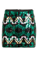 Sequined skirt - Black/Green/Patterned - Ladies | H&M CN 2