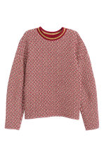 Jacquard-knit jumper - Red/Patterned - Ladies | H&M GB 2