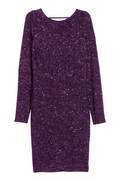 Draped glittery dress - Dark purple - Ladies | H&M CN 1