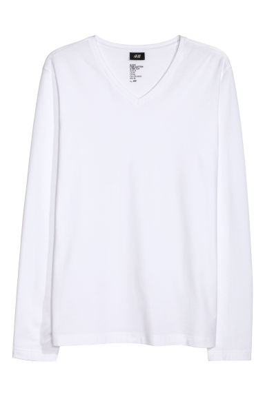 Long-sleeved T-shirt Slim fit - White - Men | H&M