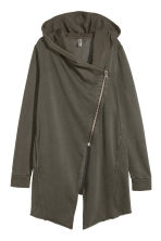 Hooded sweatshirt cardigan - Khaki green - Ladies | H&M CN 2