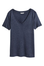 V-neck top - Dark blue marl - Ladies | H&M CN 2