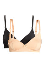 MAMA 2-pack nursing bras - Black/Light beige - Ladies | H&M CN 2